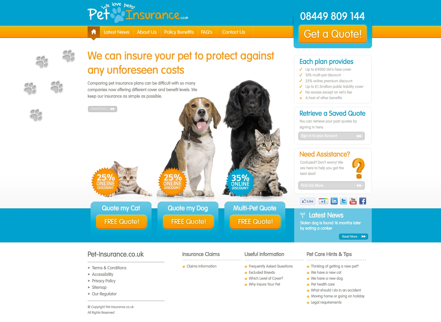 pet insurance website screengrab Pet Insurance Website Relaunches With Special Offer